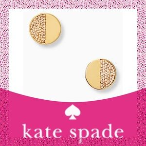 "Kate Spade ♠️Gold ""Mod Scallop"" Pave Stud Earrings"